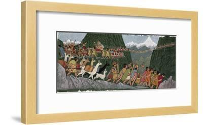 A Victorious Inca Emperor and His Army March Home to Cuzco-Ned M. Seidler-Framed Giclee Print
