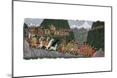 A Victorious Inca Emperor and His Army March Home to Cuzco-Ned M. Seidler-Mounted Giclee Print