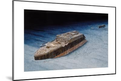 Painting of the Sunken Titanic with the Submersible Alvin at the Bow-Pierre Mion-Mounted Giclee Print