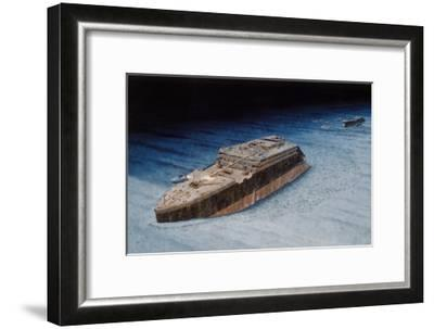 Painting of the Sunken Titanic with the Submersible Alvin at the Bow-Pierre Mion-Framed Giclee Print