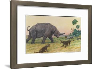 Bony Growths on the Arsinoitherium Protect it Against Hyaenodons-Charles R. Knight-Framed Giclee Print