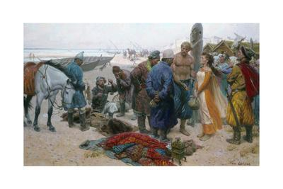 A Painting Shows a Viking Selling a Slave Girl to a Persian Merchant-Tom Lovell-Framed Giclee Print