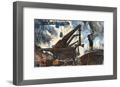 Cranes Unload Iron Ore from Great Lakes Steam Ships-Thornton Oakley-Framed Giclee Print