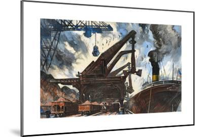 Cranes Unload Iron Ore from Great Lakes Steam Ships-Thornton Oakley-Mounted Giclee Print