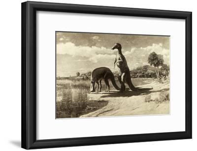 A Painting of Two Dinosaurs with Duck-Like Heads-Charles R. Knight-Framed Giclee Print