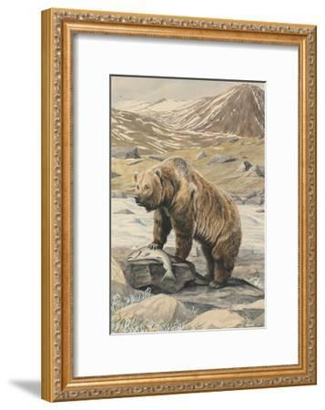 An Alaskan Brown Bear with a Salmon it Caught in a Nearby River-Louis Agassi Fuertes-Framed Giclee Print