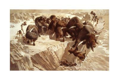 Prehistoric Hunters Stampede Bison over a Cliff-Arthur Lidov-Framed Giclee Print