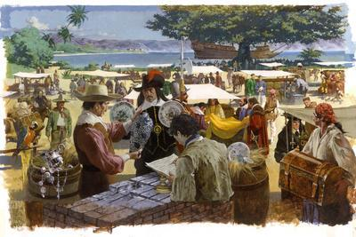 A Painting Depicts Spanish Traders in Acapulco, Mexico-Robert Mcginnis-Framed Giclee Print