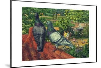Two Park Pigeons Sit on Top of a Roof-Hashime Murayama-Mounted Giclee Print