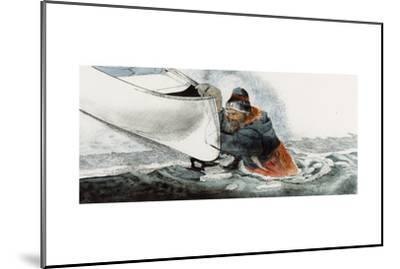 A Man Falls Through Ice on the Noatak River-Jack Unruh-Mounted Giclee Print