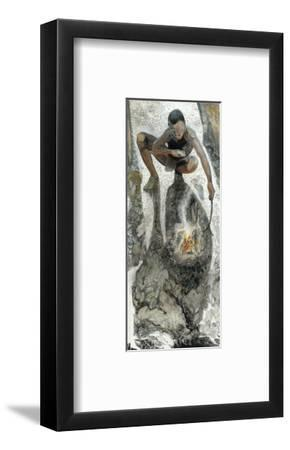 A Paleolithic Man Cooks Brown Mussels from the Klasies River-Jack Unruh-Framed Giclee Print