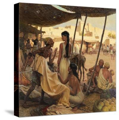 Abraham's Wife, Sarai, and a Slave Bargain for Cloth in a Marketplace-Tom Lovell-Stretched Canvas Print