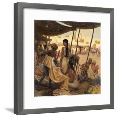 Abraham's Wife, Sarai, and a Slave Bargain for Cloth in a Marketplace-Tom Lovell-Framed Giclee Print