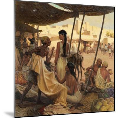Abraham's Wife, Sarai, and a Slave Bargain for Cloth in a Marketplace-Tom Lovell-Mounted Giclee Print