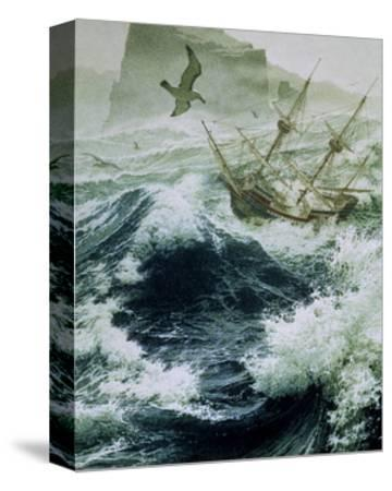 Painting of Storm-Tossed Golden Hind Ship in the Pacific Ocean-Jean-Leon Huens-Stretched Canvas Print
