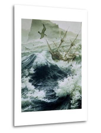Painting of Storm-Tossed Golden Hind Ship in the Pacific Ocean-Jean-Leon Huens-Metal Print