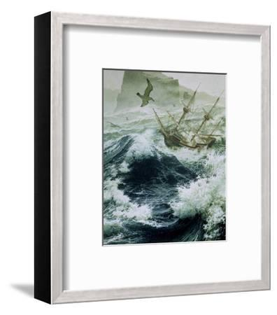 Painting of Storm-Tossed Golden Hind Ship in the Pacific Ocean-Jean-Leon Huens-Framed Giclee Print