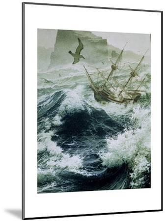 Painting of Storm-Tossed Golden Hind Ship in the Pacific Ocean-Jean-Leon Huens-Mounted Giclee Print