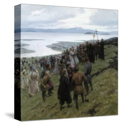 A Painting Shows the Christian Clergy Preaching to a Norse Settlement-Tom Lovell-Stretched Canvas Print