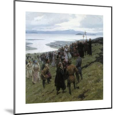 A Painting Shows the Christian Clergy Preaching to a Norse Settlement-Tom Lovell-Mounted Giclee Print