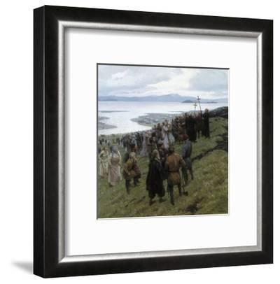 A Painting Shows the Christian Clergy Preaching to a Norse Settlement-Tom Lovell-Framed Giclee Print