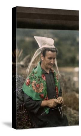 The Woman Guardian of the Tour De Kerroch Knits-Gervais Courtellemont-Stretched Canvas Print