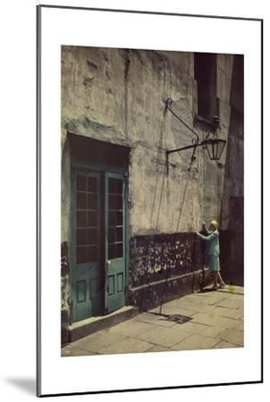 A Woman Touches the Wall of the Municipal Building for the Cabildo-Edwin L^ Wisherd-Mounted Photographic Print