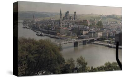 A View of the Town of Passau Along the Danube River-Hans Hildenbrand-Stretched Canvas Print