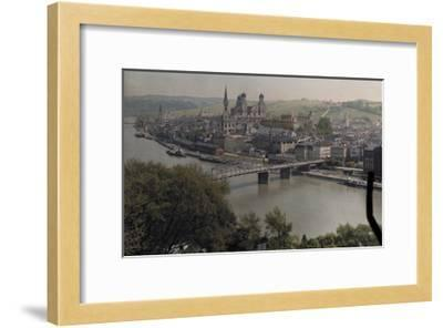 A View of the Town of Passau Along the Danube River-Hans Hildenbrand-Framed Photographic Print