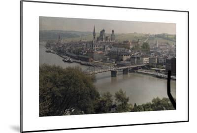 A View of the Town of Passau Along the Danube River-Hans Hildenbrand-Mounted Photographic Print