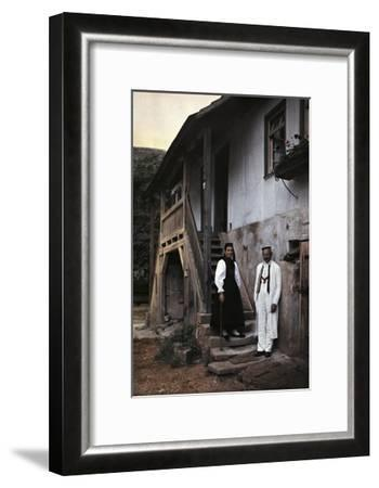 A Swabian Couple Poses at the Foot of the Staircase to their Home-Hans Hildenbrand-Framed Photographic Print