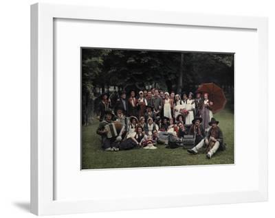 A Large Group of Peasants Pose at the Geneva Folk Costume Festival-Hans Hildenbrand-Framed Photographic Print