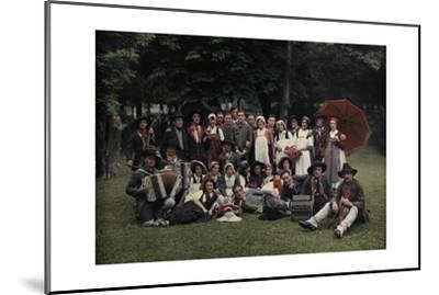 A Large Group of Peasants Pose at the Geneva Folk Costume Festival-Hans Hildenbrand-Mounted Photographic Print
