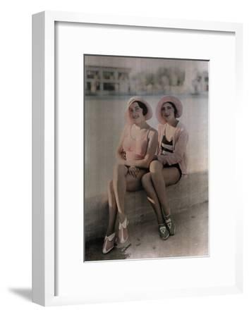 Two Girls in Bathing Suits Sit on a Concrete Ledge-Wilhelm Tobien-Framed Photographic Print