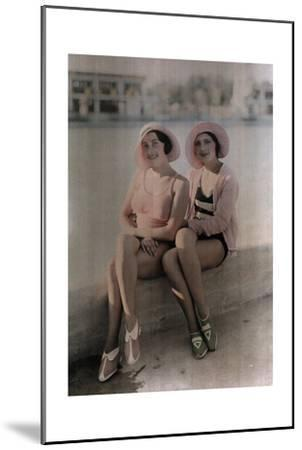 Two Girls in Bathing Suits Sit on a Concrete Ledge-Wilhelm Tobien-Mounted Photographic Print