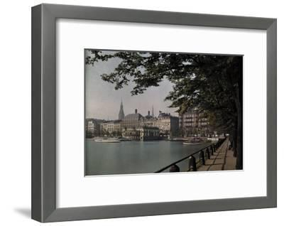 A View of Binnenalster Lake Surrounded by the Alster Pavillion-Hans Hildenbrand-Framed Photographic Print
