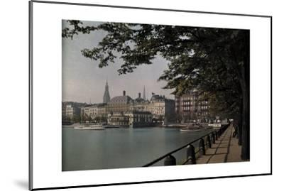 A View of Binnenalster Lake Surrounded by the Alster Pavillion-Hans Hildenbrand-Mounted Photographic Print