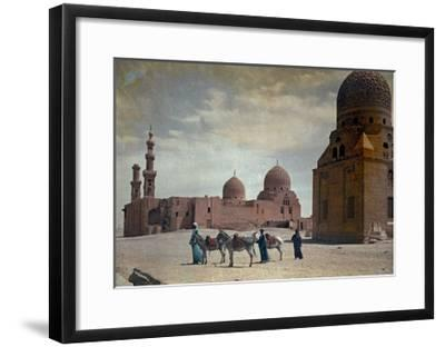 Men Lead Donkeys Past the Tombs of the Caliphs-Hans Hildenbrand-Framed Photographic Print