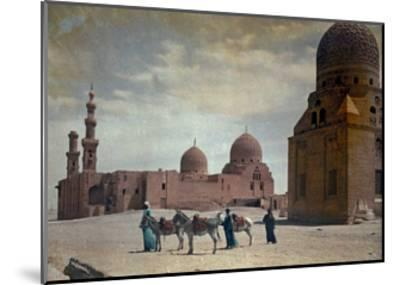 Men Lead Donkeys Past the Tombs of the Caliphs-Hans Hildenbrand-Mounted Photographic Print