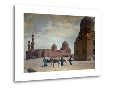 Men Lead Donkeys Past the Tombs of the Caliphs-Hans Hildenbrand-Metal Print