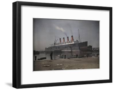 "A View of the Cunard S.S. ""Mauretania"" at Dock-Clifton R^ Adams-Framed Photographic Print"
