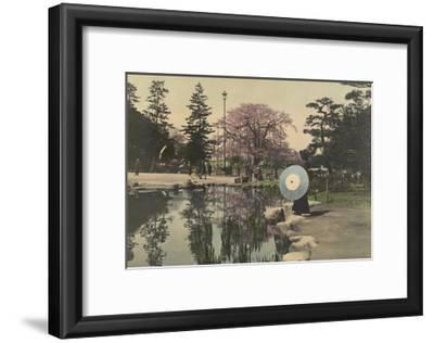 A Woman Observes the Reflection of Cherry Blossoms in a Small Pond-Kiyoshi Sakamoto-Framed Photographic Print