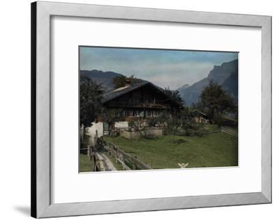 A View of a Beautiful Farmhouse and Garden in Grindelwald-Hans Hildenbrand-Framed Photographic Print