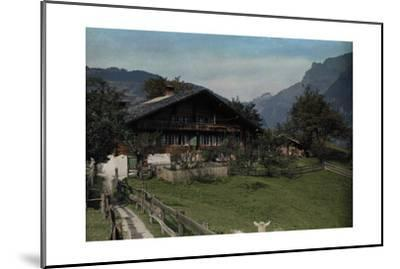 A View of a Beautiful Farmhouse and Garden in Grindelwald-Hans Hildenbrand-Mounted Photographic Print