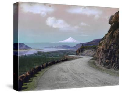 The Columbia River Winds Through Mountainous Maryhill and Mt. Hood-A. H. Barnes-Stretched Canvas Print
