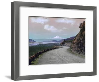 The Columbia River Winds Through Mountainous Maryhill and Mt. Hood-A. H. Barnes-Framed Photographic Print