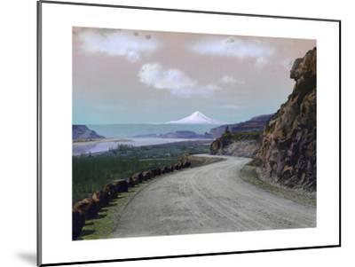 The Columbia River Winds Through Mountainous Maryhill and Mt. Hood-A. H. Barnes-Mounted Photographic Print