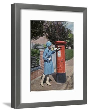 A Young Woman Mails a Letter at the Pillar Box-Clifton R^ Adams-Framed Photographic Print