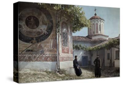 Preobrajenski Monastery Monks Rest Outside Church Adorned with Murals-Wilhelm Tobien-Stretched Canvas Print