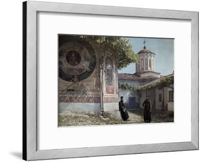 Preobrajenski Monastery Monks Rest Outside Church Adorned with Murals-Wilhelm Tobien-Framed Photographic Print